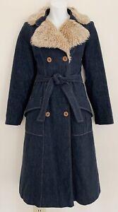 Vtg 1960's-1970's SEARS JR BAZAAR Women Denim Coat Sz S Faux Fur Trim Tie Front