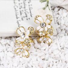 18k Gold Filled Clear Zirconia Crystal White Oil Drip Flower Stud Earrings Gift