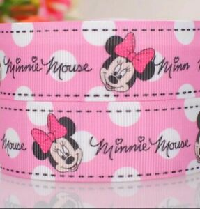 """MINNIE MOUSE PINK Grosgrain RIBBON 1m x 75mm width (3"""") birthday cake hair cakes"""
