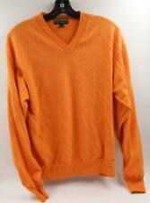 Robert Talbot 100% Merino Wool V-Neck Orange Men's Sweater Sz Large