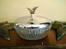 Vintage pressed glass candy/trinket dish with chrome top