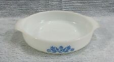 """Vintage Fire King blue floral round 9"""" round glass cake pan Free S/H"""