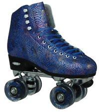 Epic Dazzle Elite Blue & Gold Metallic High-Top Quad Roller Skates + 2 Pr Laces