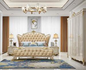 Cama Mesa de Noche 3 Piezas Dormitorio Set Diseño Moderno Lujo Grupo Cuero