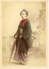 Japon, Japan, Geisha en costume traditionnel        Vintage albumen print,