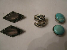 Brooches - Nice Costume Jewelry - Bba-3 2 Vtg Sets Of Earrings & 2 Vtg
