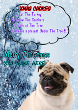 Pug Dog Rules ptcc313 Christmas Xmas Card A5 Personalised Greetings Cards