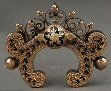 Victorian Solid Yellow Gold & Black Enamel, Floral Filigree Crown, Pin Brooch