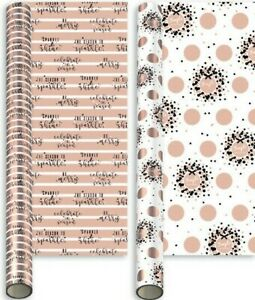 Christmas Luxury Rose Gold Gift Roll Wrap 2 x 2 Metres Wrapping Paper