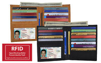 Men's Cowhide Leather Hipster European Bifold Wallet Credit Card RFID Blocking
