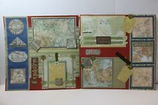 Travel ~  2 pre-made scrapbook pages paper piecing layout