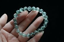 Tibet Himalayan Clear Green Phantom Quartz Crystal Bracelet Round Beads 7 mm