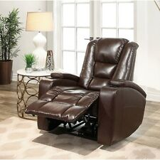 Leather Power Reclining Home Movie Theater Recliner Chair Lounger Club Cinema