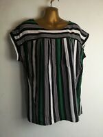 Next 12/14 green black mix striped cap sleeve light crepe round neck blouse