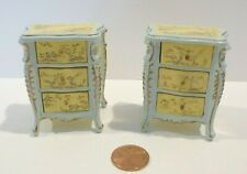 SET OF 2 BESPAQ DOLLHOUSE MINIATURE BEDSIDE TABLES HAND PAINTED DESIGN