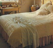 Heirloom Bedspread/throw and Cushion Knitting Pattern squares with leaf edge 932