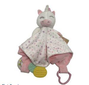 Modern Baby Security Blanket Unicorn Teether Rattle Stars Blanky Lovey New