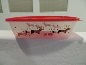 (2) Happy Holidays Christmas DACHSHUND Dogs Plastic Storage Container NEW