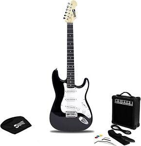 RockJam Full Size Electric Guitar Kit with Amp - Black