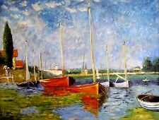 Stretched, Claude Monet Red Boats Repro, Hand Painted Oil Painting 36x48in