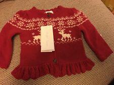 BNWT  Ralph Lauren Navy Red  Christmas Reindeer Cardigan  Age 6 m BNWT