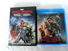 lot of 2 iron man 3 blu-ray + dvd & avengers confidential dvd