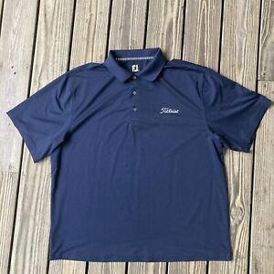 FJ Footjoy Polo Shirt Titleist Golf Size Xl Navy Blue Dry Fit