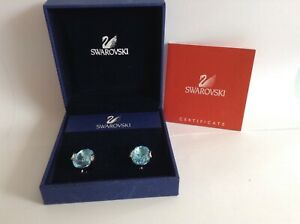 SWAROVSKI Crystal Clip on Earrings Aqua Stone New Boxed