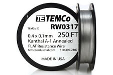 TEMCo Flat Ribbon Kanthal A1 Wire 0.4mm x 0.1mm 250 Ft Resistance A-1