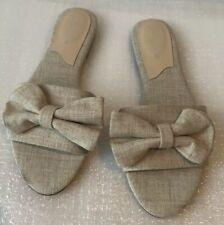 CHARLES DAVID Womens Textile Beige Flat Sandals Sz 7.5