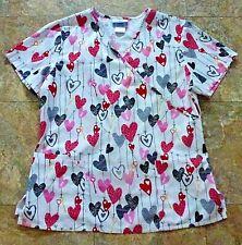 Scrubs Valentine Love Hearts Keys Cotton Blend Nursing Scrub Women Size Medium