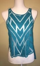 Free People Womens Tank Top Mesh Cut Out Button Back Blue XS