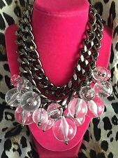 Betsey Johnson Vintage HUGE RUNWAY Clear Lucite Bubble Cluster Pewter Necklace