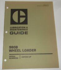 Cat Caterpillar 980b Wheel Loader Lubrication Amp Maintenance Manual 89p906 Up