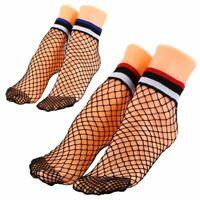 1 paio di donne estive strisce calze a rete femminile nero mesh reti brevi S7U4