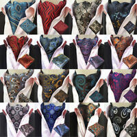 Men Classic Paisley Floral Ascot Cravat Necktie Matching Hanky Pocket Square Set