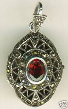 925 Sterling Silver Marcasite & Garnet Oval Locket  Photo Pendant  length 1.3.8""