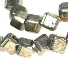 """6MM IRON PYRITE GEMSTONE DIAGONAL-DRILL SQUARE CUBE 6X6MM LOOSE BEADS 7.5"""""""