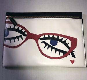 Lulu Guinness Archive Eyes Naomi Soft Optical Leather Clutch Handbag UNUSED