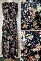 Next Maxi Dress size 14 Black Floral Autumn Key hole neck Tassels Stretch Hippy