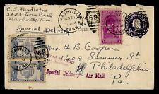 DR WHO 1939 NASHVILLE TN SPECIAL DELIVERY UPRATED STATIONERY AIRMAIL  g18027