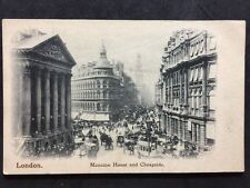 RP Vintage Postcard London #MA2 - Mansion House & Cheapside Busy Horse Carriages