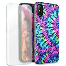 Hippie Tie Dye Double Layer Case Glass Screen For Apple iPhone XS Max