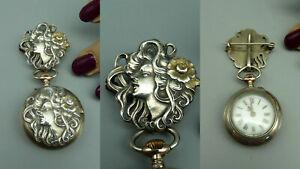 PPÜÄ Antik Jugendstil Damen Taschenuhr Brosche Anhänger 900 Silber Relief defekt