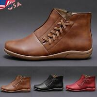 ✅Women Leather Mid Calf Boots Low Flat Heel Zipper Round Toe Outdoor Shoes Size✅