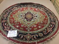 Hand Knotted Round Heriz Serapi 4X4 Indian Area Rug Oriental RED COLOR
