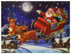 Christmas Santa Reindeer 3D Lenticular Holographic Moving Poster Print Picture