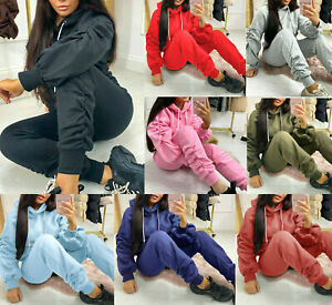 Womens Ladies Ruched Sleeve Oversized Hooded Lounge Wear Joggers Tracksuit Set
