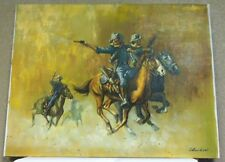 Vintage Wild West Calvary Shootout Oil Painting