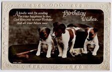 Jack Russell Terrier pups vintage Embossed Edge Dog Birthday Greetings Postcard